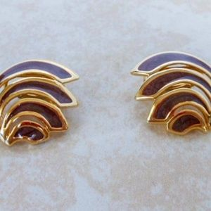 Jewelry - Gold & Chocolate Enamel Swirl Clip On Earrings